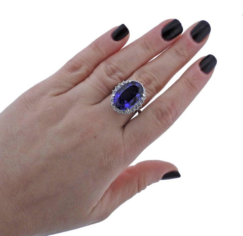 image of Tanzanite Diamond Platinum Cocktail Ring