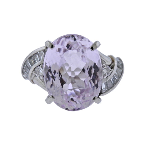 image of Kunzite Diamond Platinum Cocktail Ring