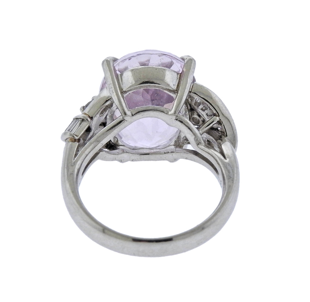 thumbnail image of Kunzite Diamond Platinum Cocktail Ring