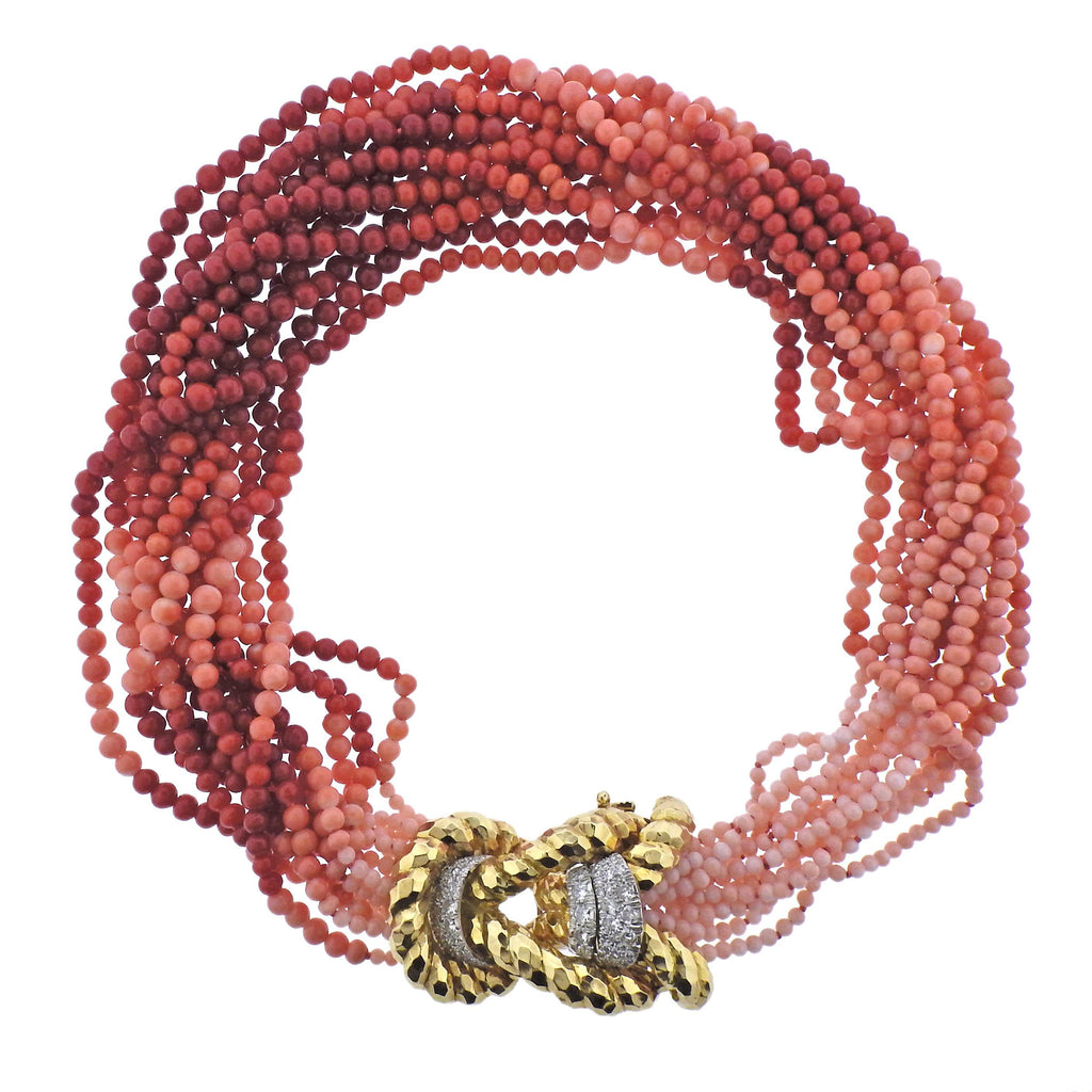 thumbnail image of David Webb Coral Bead Diamond Gold Platinum Necklace