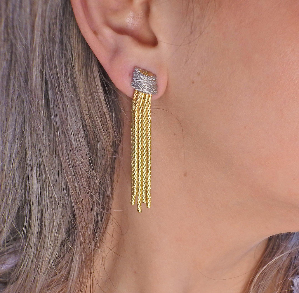 thumbnail image of Buccellati Tassel Two Tone Gold Earrings