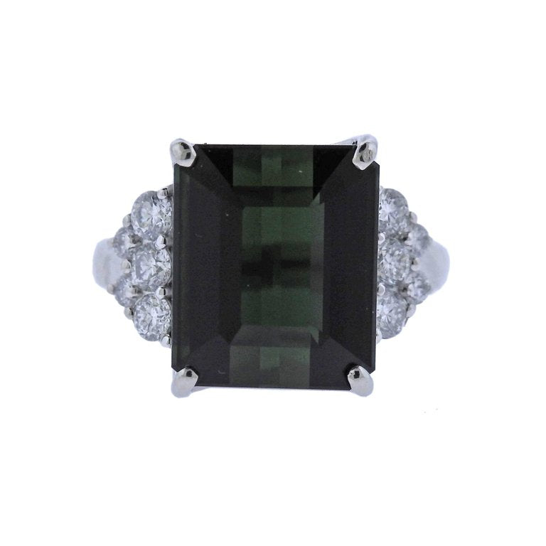 thumbnail image of Green Tourmaline Diamond Platinum Ring