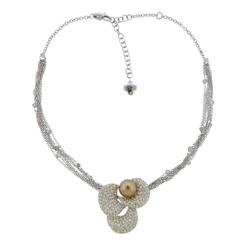 image of Io Si Pearl Diamond Gold Flower Pendant Necklace