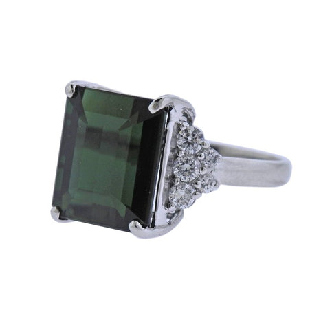 image of Green Tourmaline Diamond Platinum Ring