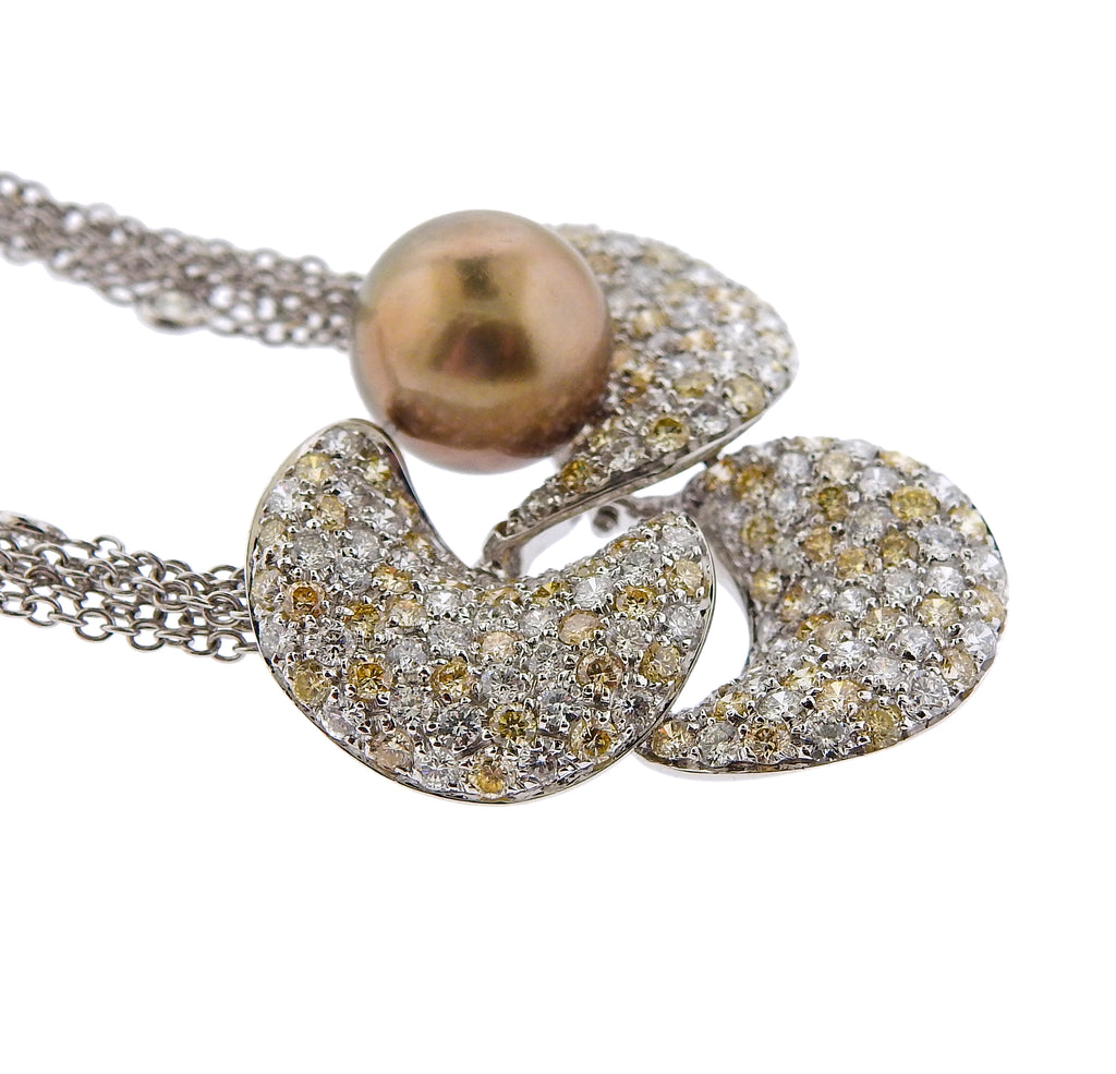 thumbnail image of Io Si Pearl Diamond Gold Flower Pendant Necklace