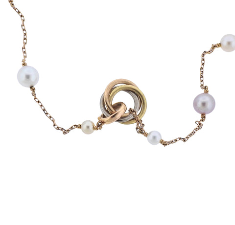 image of Cartier Trinity Pearl Gold Station Long Necklace