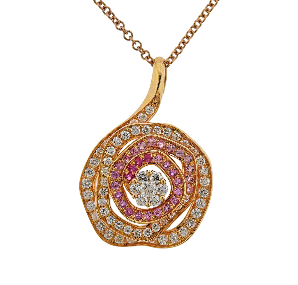 thumbnail image of Valente Diamond Multi Color Sapphire Pendant Necklace