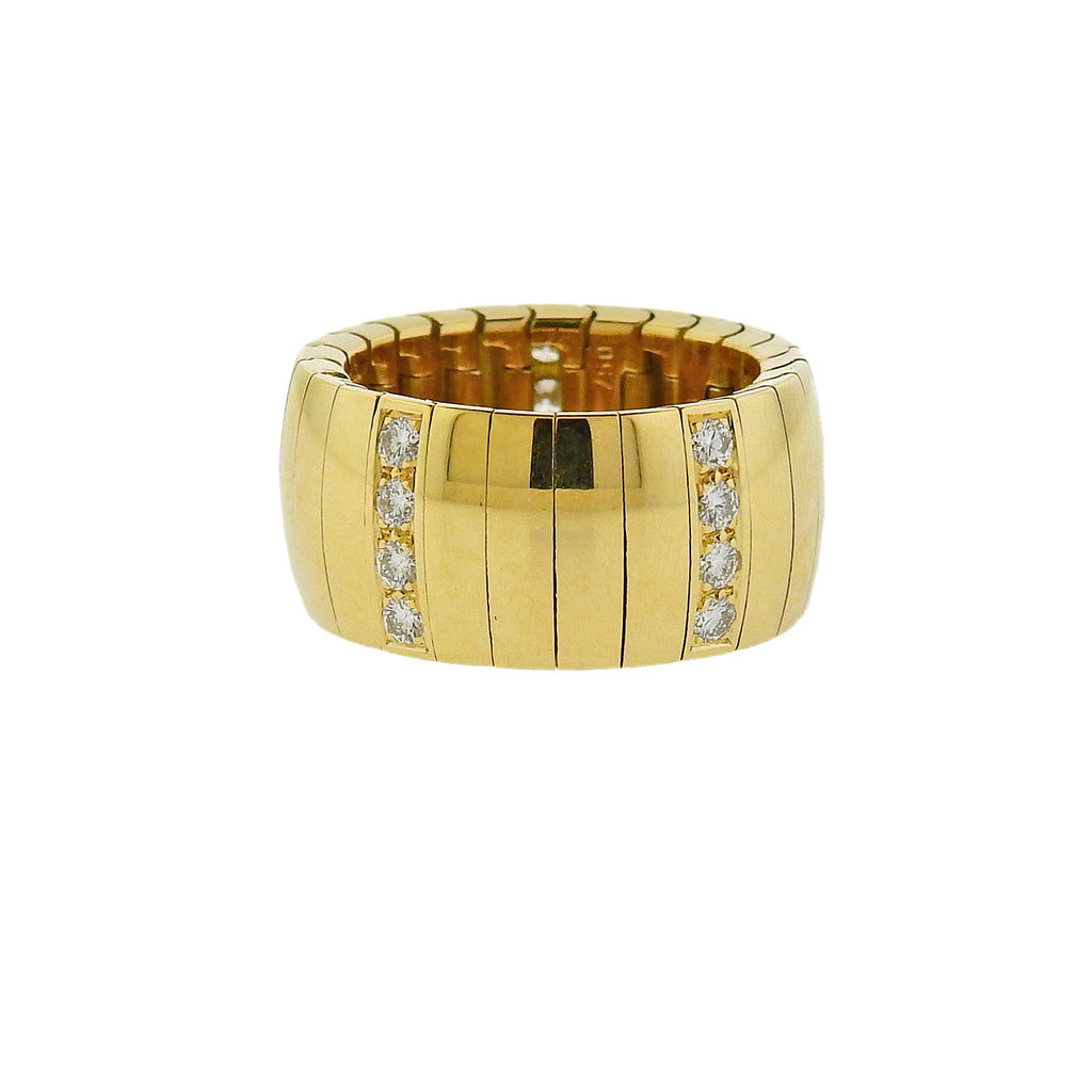 thumbnail image of Chaumet Yellow Gold Diamond Wide Band Ring