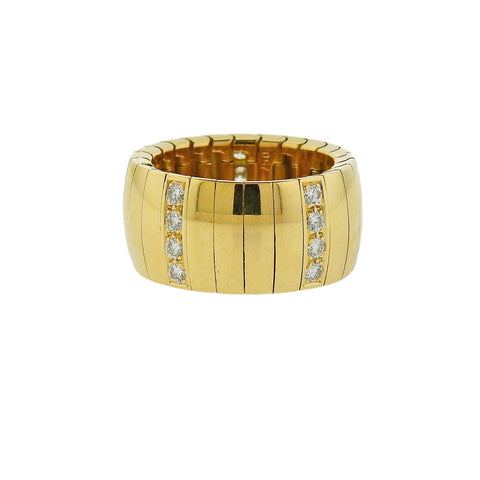 image of Chaumet Yellow Gold Diamond Wide Band Ring