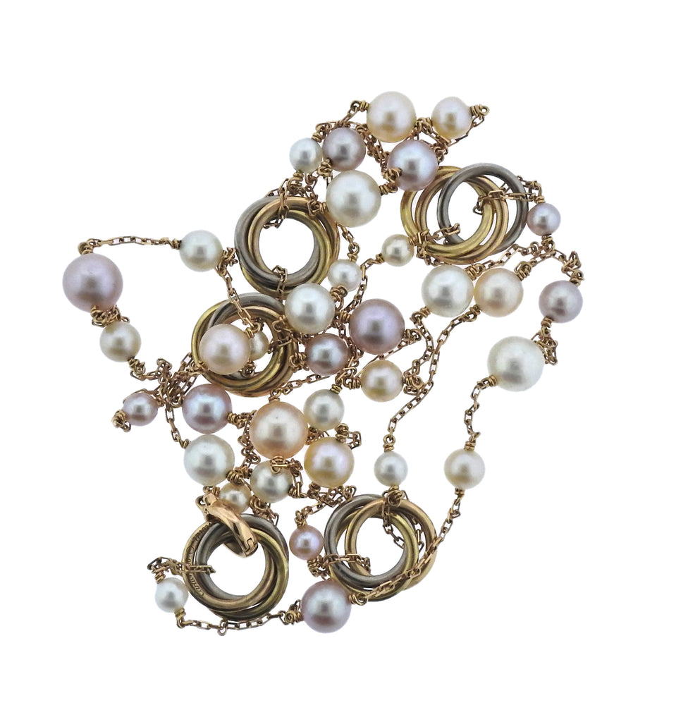 thumbnail image of Cartier Trinity Pearl Gold Station Long Necklace