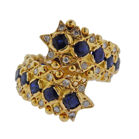 image of Zolotas Greece Sapphire Diamond Gold Ring