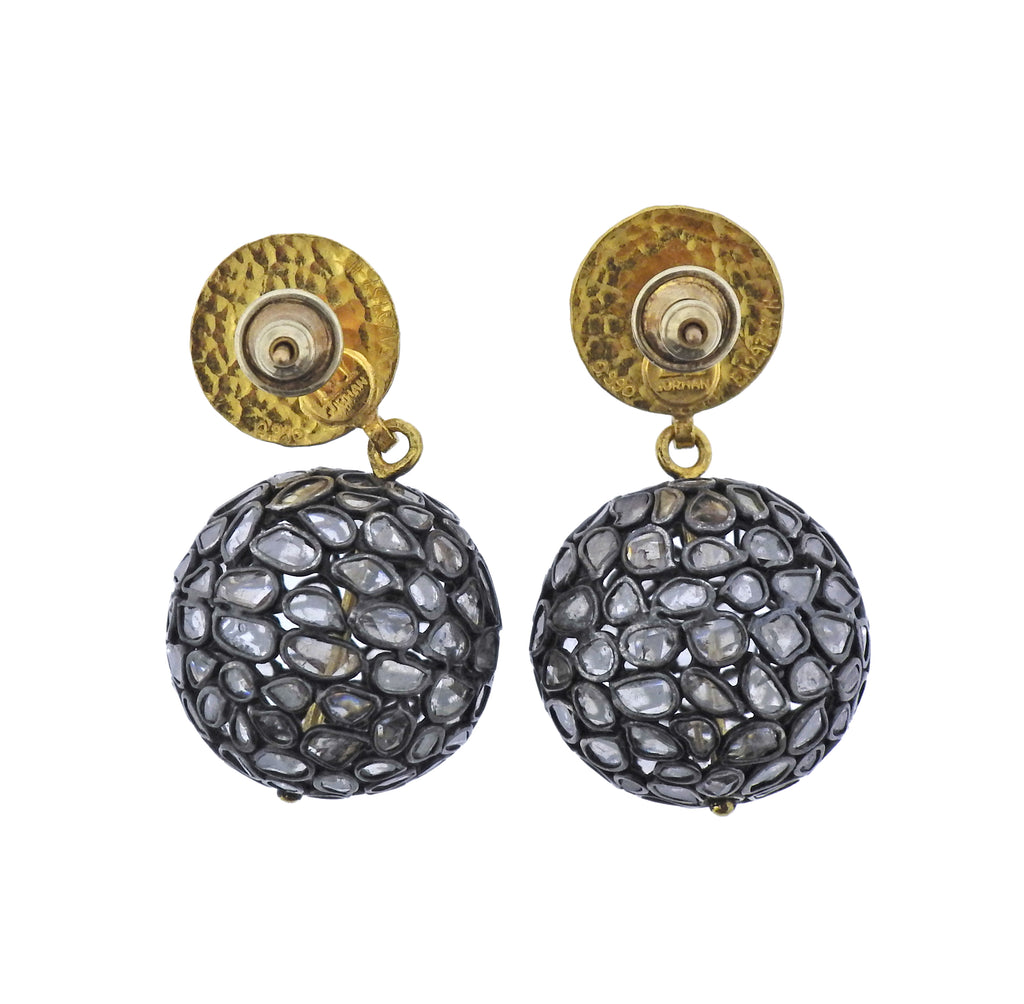thumbnail image of Gurhan Spell Pastiche Gold Silver Diamond Slice Ball Earrings