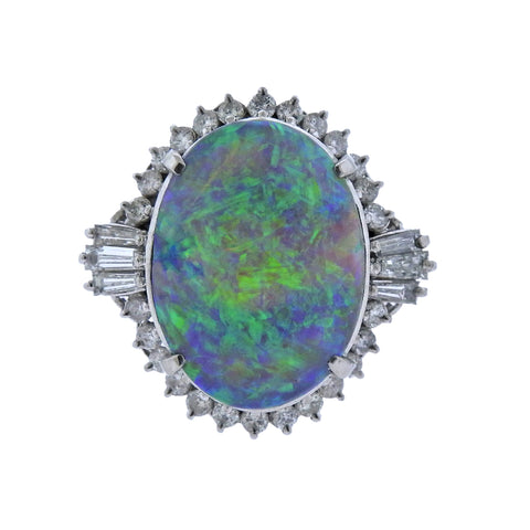 image of Opal Diamond Platinum Cocktail Ring