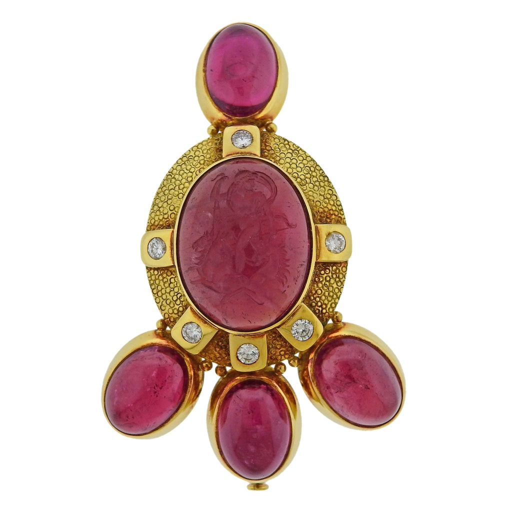 thumbnail image of Elizabeth Gage Pink Tourmaline Intaglio Diamond Gold Brooch Pin