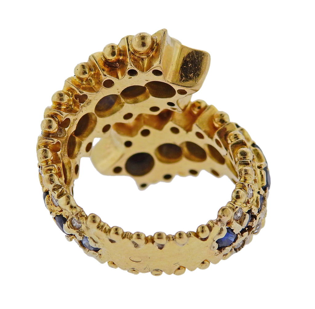 thumbnail image of Zolotas Greece Sapphire Diamond Gold Ring