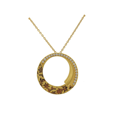 Carrera Y Carrera Cervantes 18k Gold Diamond Circle Pendant Necklace