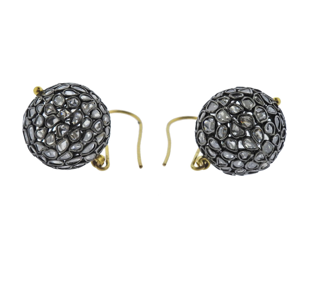 thumbnail image of Gurhan Spell Pastiche Gold Silver Diamond Slice Ball Drop Earrings