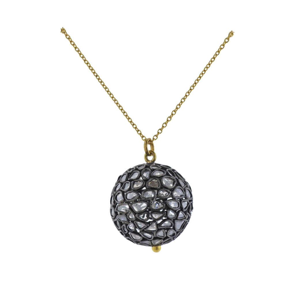 thumbnail image of Gurhan Spell Pastiche Gold Silver Diamond Slice Ball Pendant Necklace