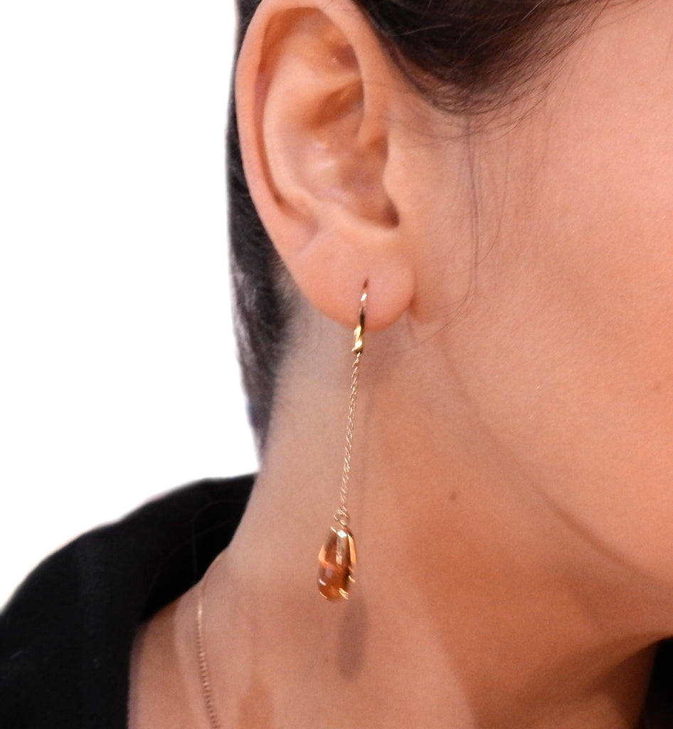 thumbnail image of Pomellato Veleno 18K Gold Madeira Quartz Drop Earrings