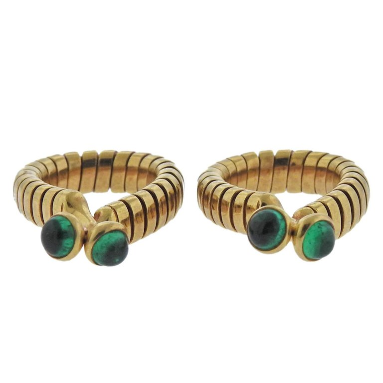 thumbnail image of Bulgari Tubogas Emerald Gold Cufflinks