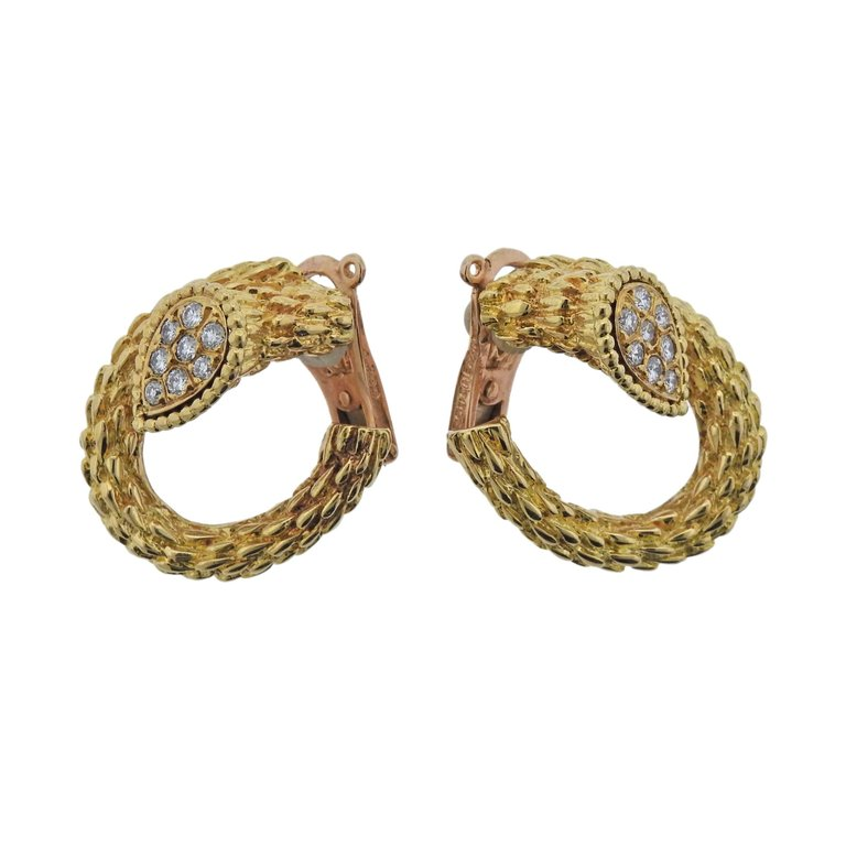thumbnail image of Boucheron Diamond Gold Earrings
