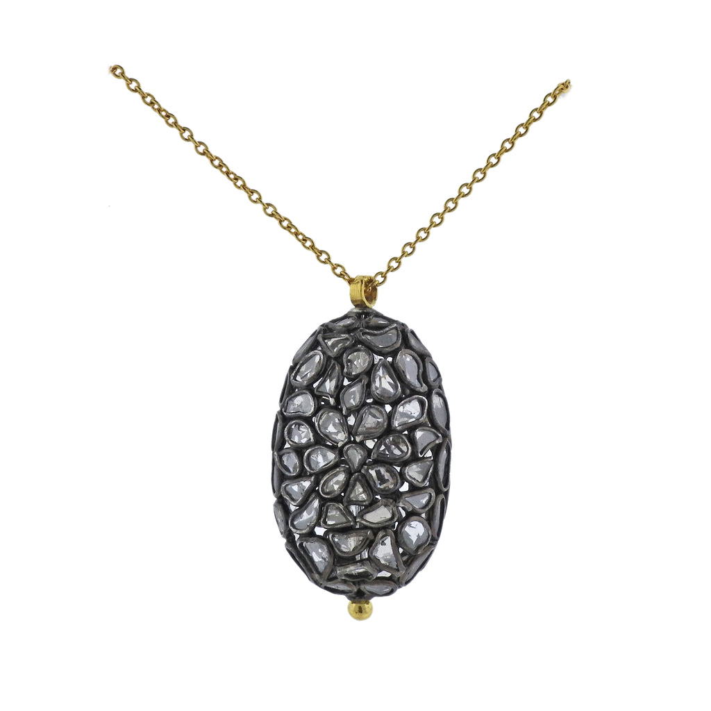 thumbnail image of Gurhan Spell Pastiche Gold Silver Diamond Slice Oval Pendant Necklace