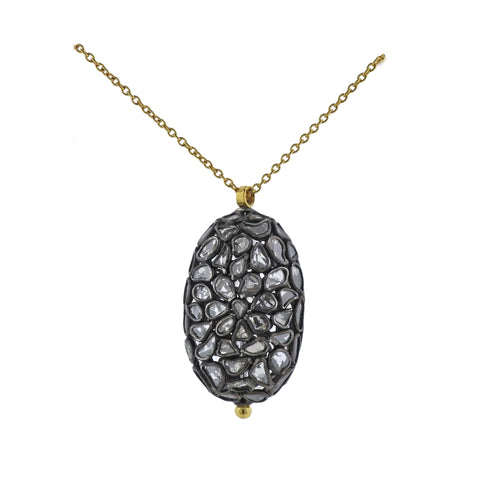 image of Gurhan Spell Pastiche Gold Silver Diamond Slice Oval Pendant Necklace