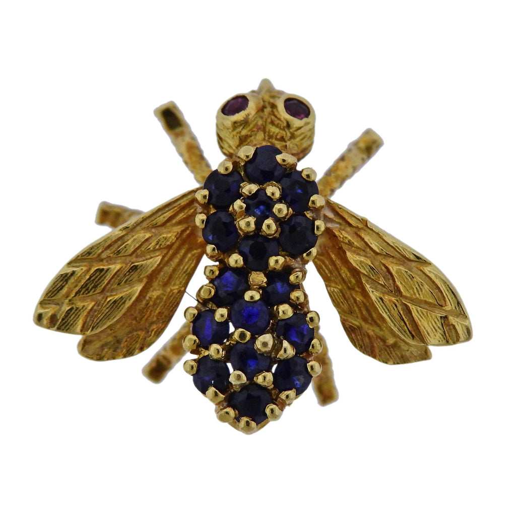 thumbnail image of Herbert Rosenthal Gold Sapphire Ruby Bee Brooch Pin