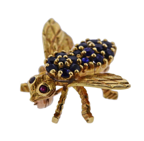 image of Herbert Rosenthal Gold Sapphire Ruby Bee Brooch Pin