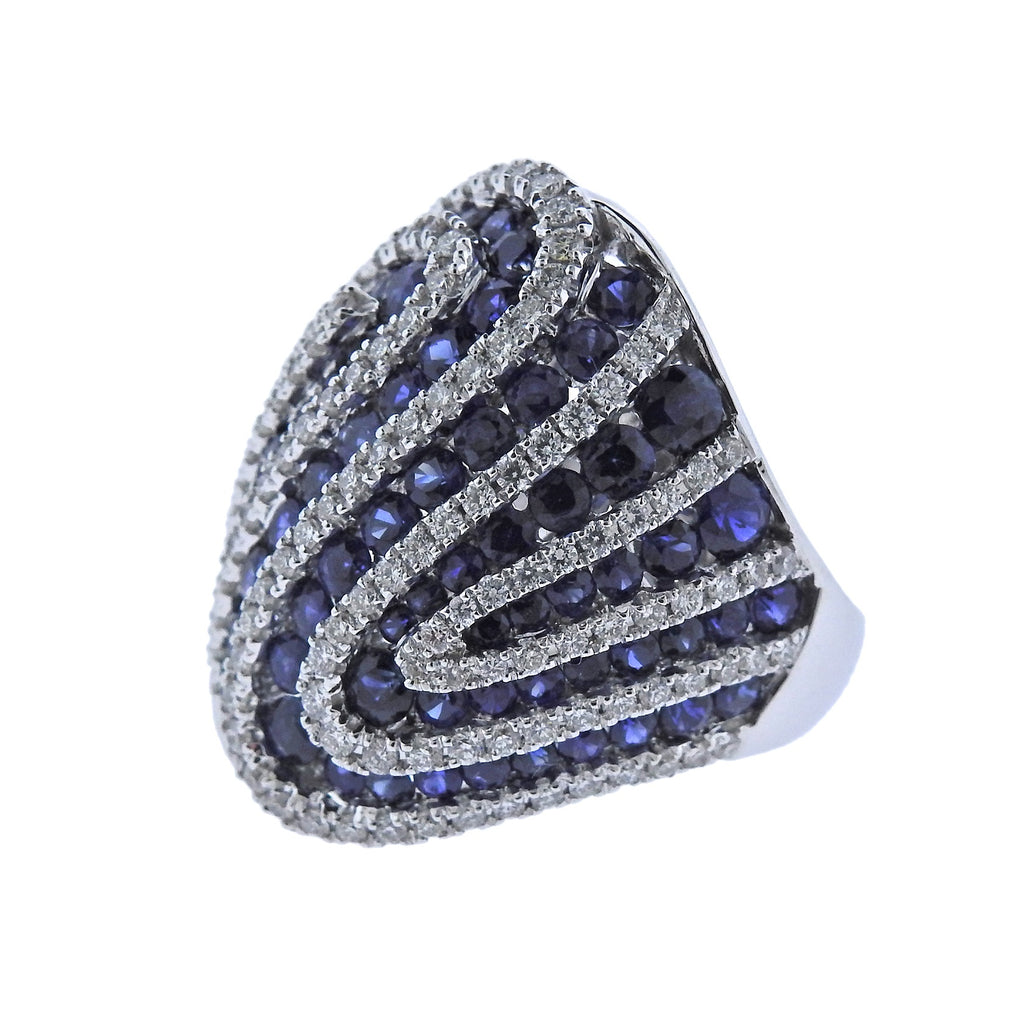 thumbnail image of Sapphire Diamond Gold Cocktail Ring