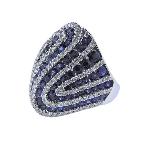 image of Sapphire Diamond Gold Cocktail Ring