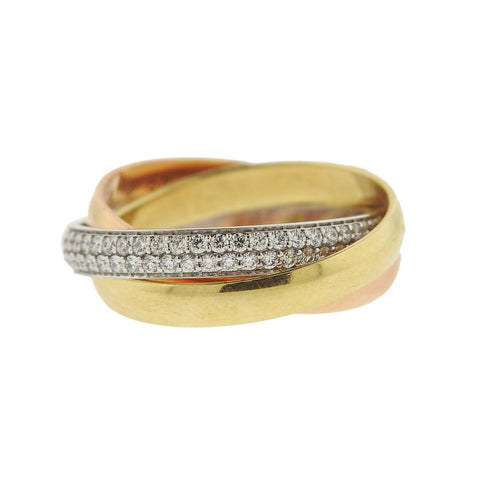 image of Cartier Trinity 18k Gold Diamond Rolling Band Ring Size 46