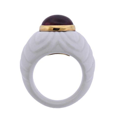 image of Bulgari White Ceramic Gold Pink Tourmaline Ring