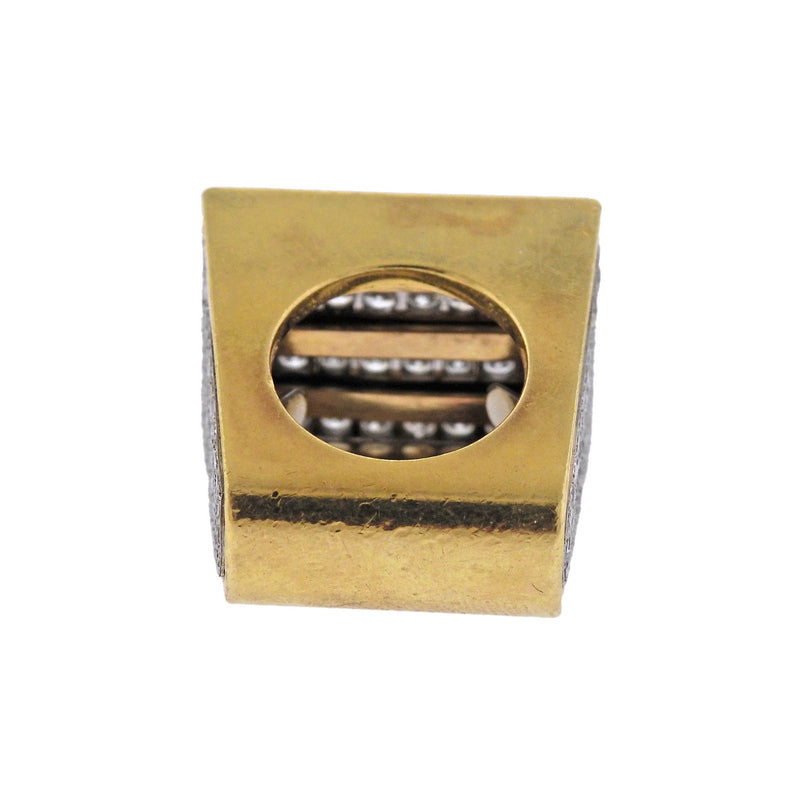 thumbnail image of Modernist Gold Platinum Diamond Onyx Ring