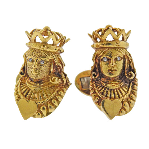 Kurt Wayne 1970s Diamond Gold Queen of Hearts Cufflinks - Oak Gem