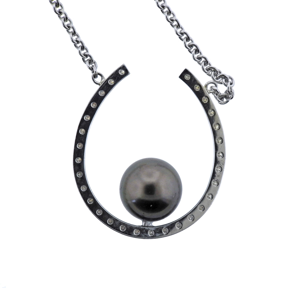 thumbnail image of Diamond Tahitian Pearl Gold Lucky Horseshoe Pendant Necklace