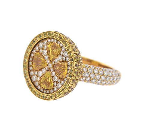image of De Grisogono Fruit Diamond Yellow Sapphire Ring