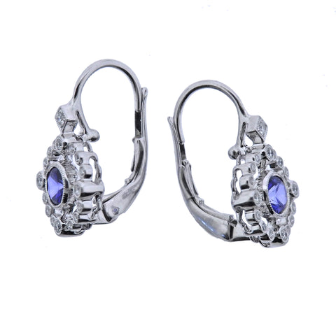 image of Sapphire Diamond Gold Earrings