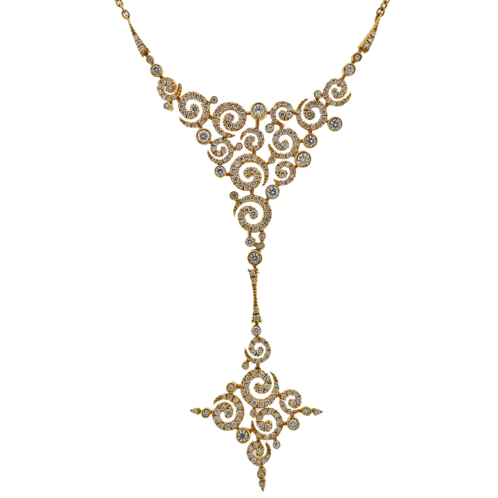 thumbnail image of Stefan Hafner 2.74ctw Diamond Gold Drop Pendant Necklace