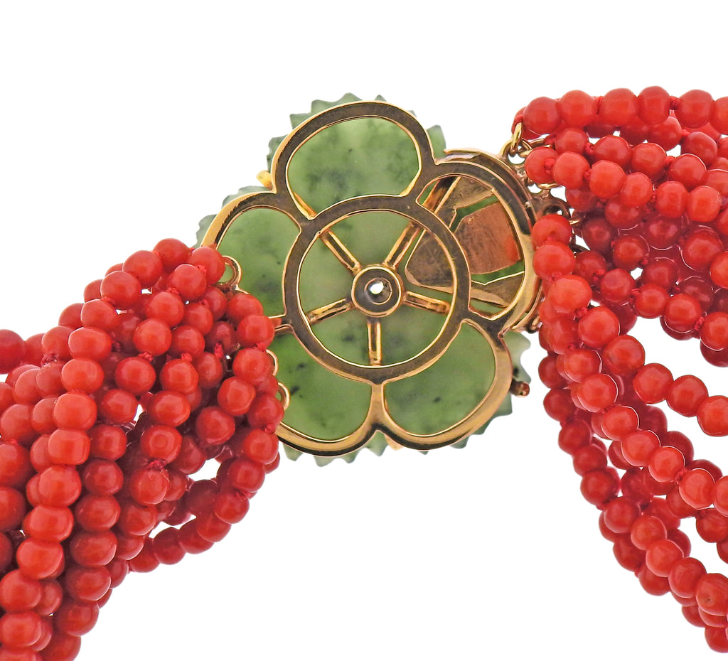 thumbnail image of Mid Century Carved Nephrite Coral Ruby Diamond Gold Torsade Necklace