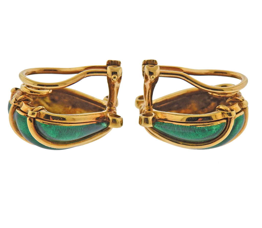 thumbnail image of Tiffany & Co Schlumberger Enamel Diamond Shell Earrings