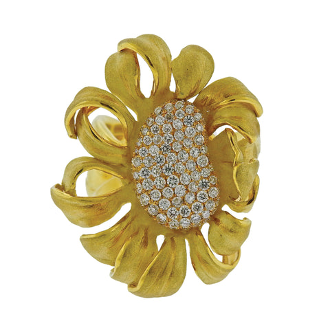 image of Annamaria Cammilli Mirage Diamond Gold Flower Ring