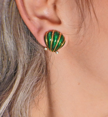 image of Tiffany & Co Schlumberger Enamel Diamond Shell Earrings
