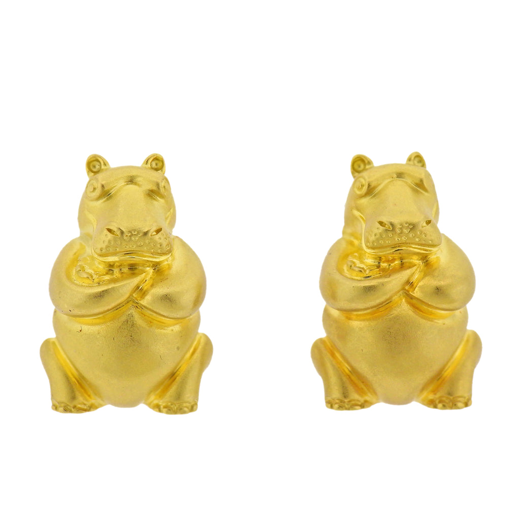 thumbnail image of Henry Dunay Gold Hippo Earrings