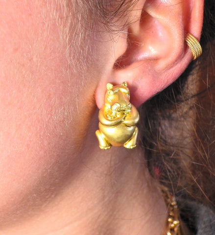 image of Henry Dunay Gold Hippo Earrings