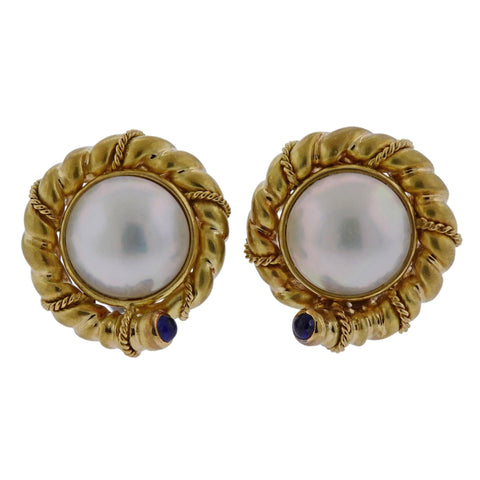 image of Tiffany & Co Pearl Sapphire Gold Earrings