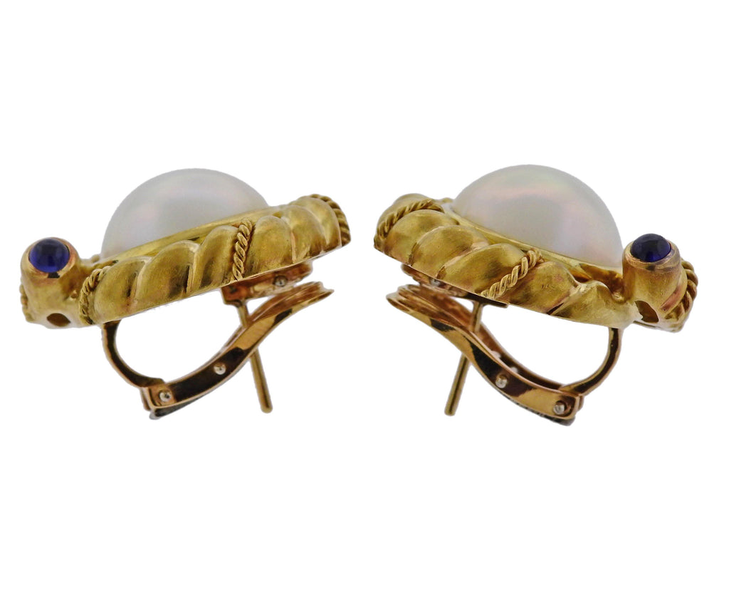 thumbnail image of Tiffany & Co Pearl Sapphire Gold Earrings