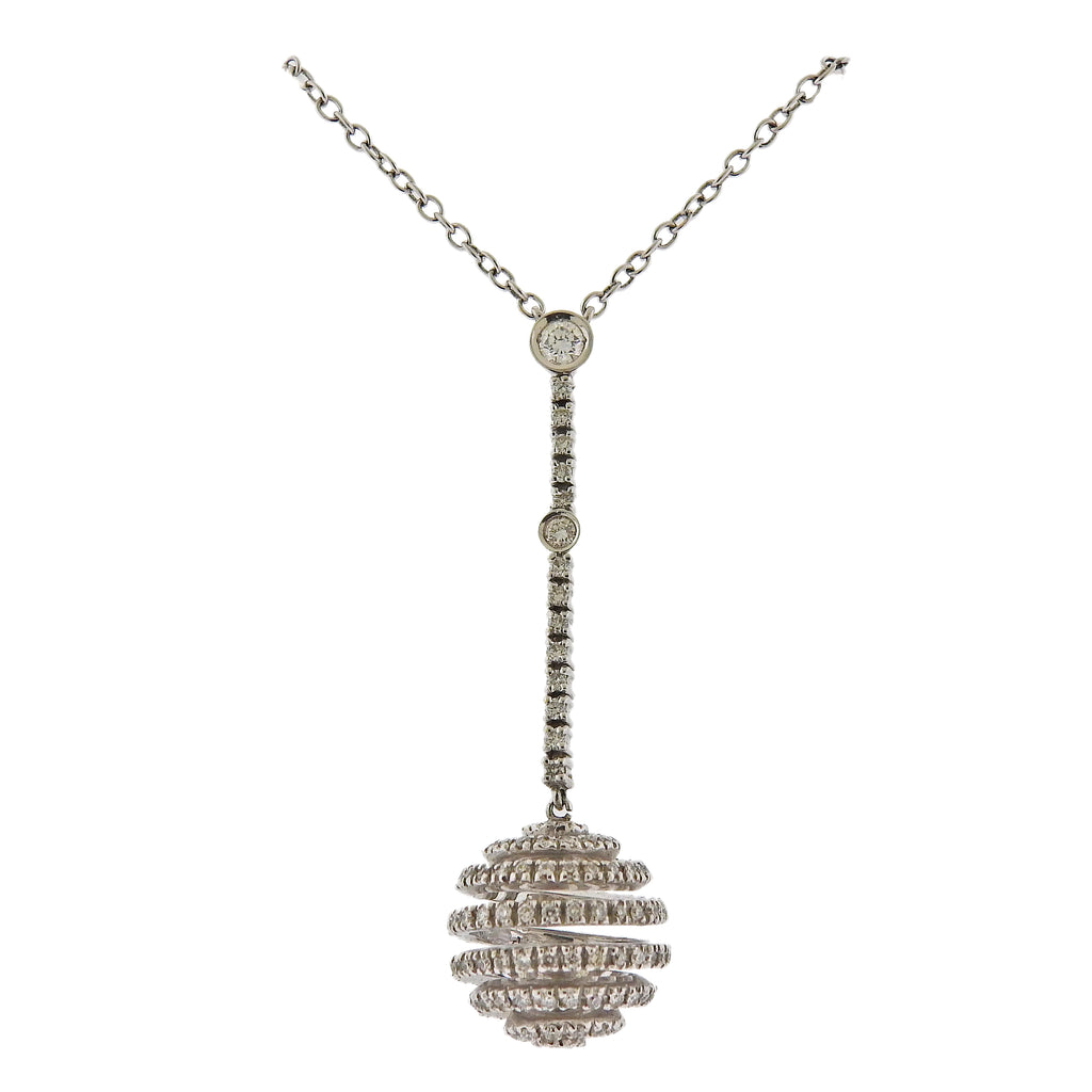 thumbnail image of Stefan Hafner Diamond Gold Ball Drop Pendant Necklace