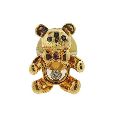 image of Chopard 18k Gold Diamond Ruby Sapphire Bear Tie Tack