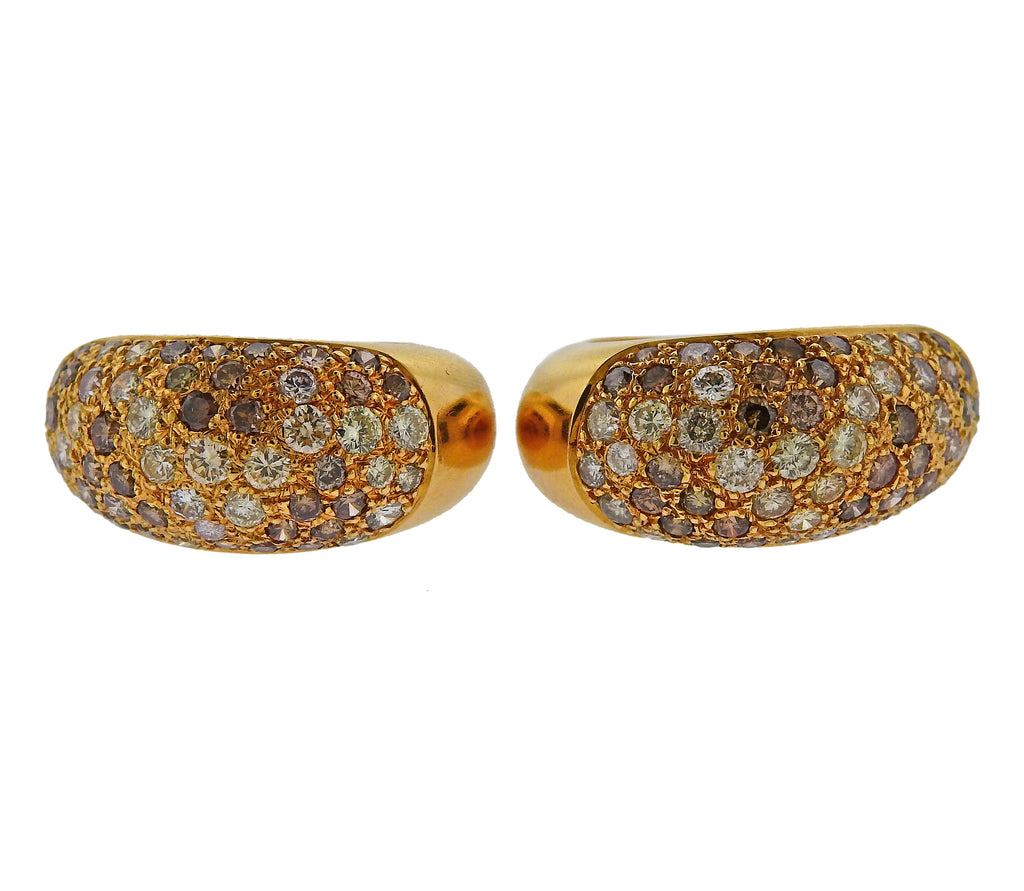 thumbnail image of Cartier Sauvage Fancy Diamond Gold Hoop Earrings